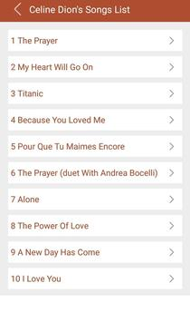 Hit Celine Dion's Songs Lyrics screenshot 1