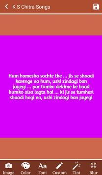 Hit K S Chitra's Songs Lyrics apk screenshot