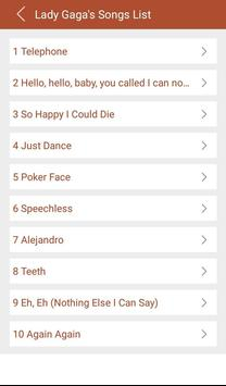 Hit Lady Gaga's Songs lyrics apk screenshot