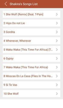 Hit Shakira's Songs Lyrics screenshot 1