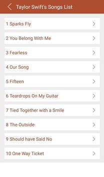 Hit Taylor Swift's Songs Lyric apk screenshot