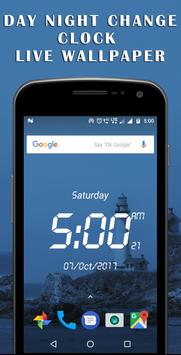 Day night changing clock live wallpaper poster