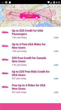 Free Lyft Taxi Coupons For Lyft Ride 2018 screenshot 1