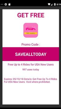 Free Lyft Taxi Coupons For Lyft Ride 2018 screenshot 2