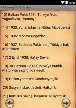 YKS İnkılap Tarihi Notları apk screenshot