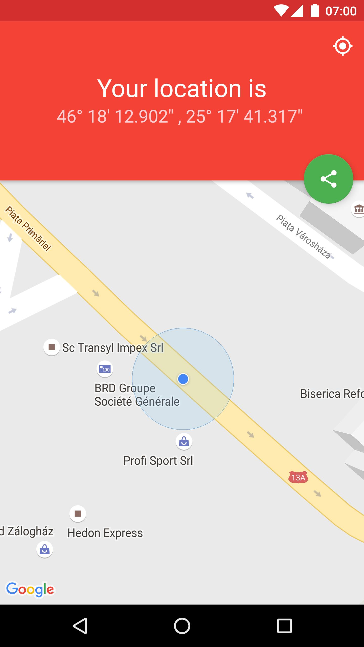 Share GPS Location Coordinates by Google Maps link for Android - APK