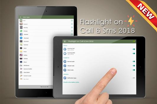 Flashlight on Call & Sms 2018 screenshot 5