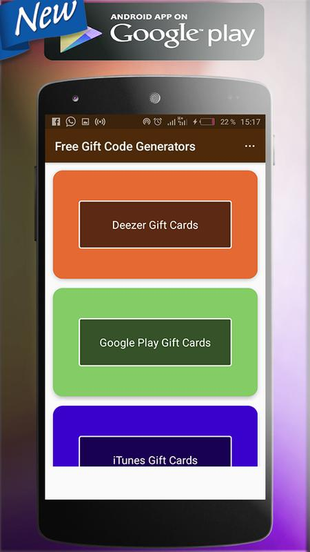 Google Play Gift Card Generator Android App - Gift Ideas