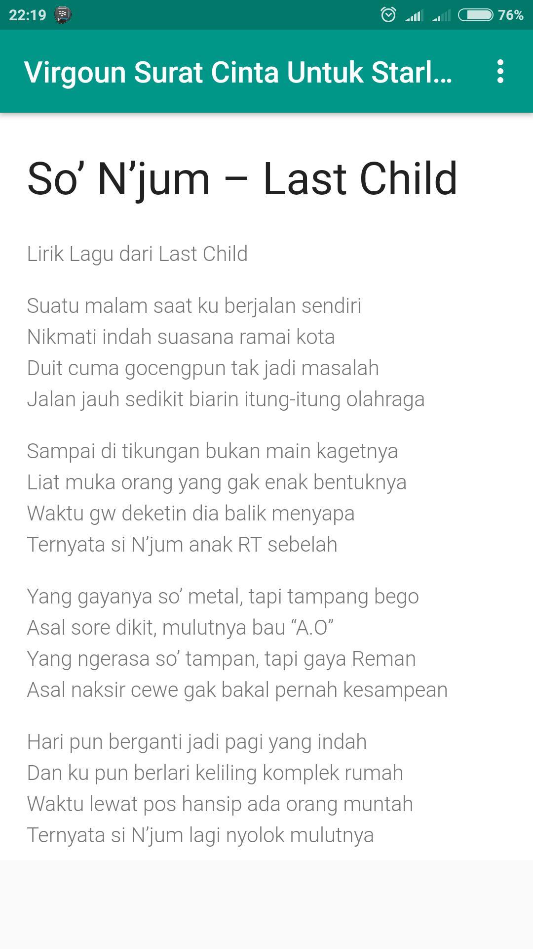 Lirik Lagu Virgoun Surat Cinta Untuk Starla For Android
