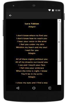 New Lyrics Lara Fabian apk screenshot