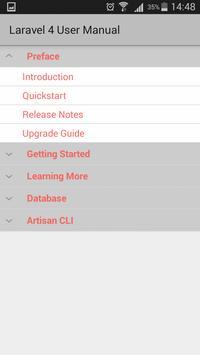 Laravel 4 user manual apk screenshot