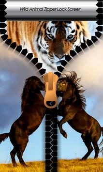Wild Animal Zipper Lock Screen poster