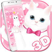 Pink kitty 3d live wallpaper theme icon