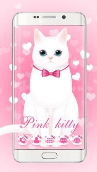 Pink kitty 3d live wallpaper theme poster