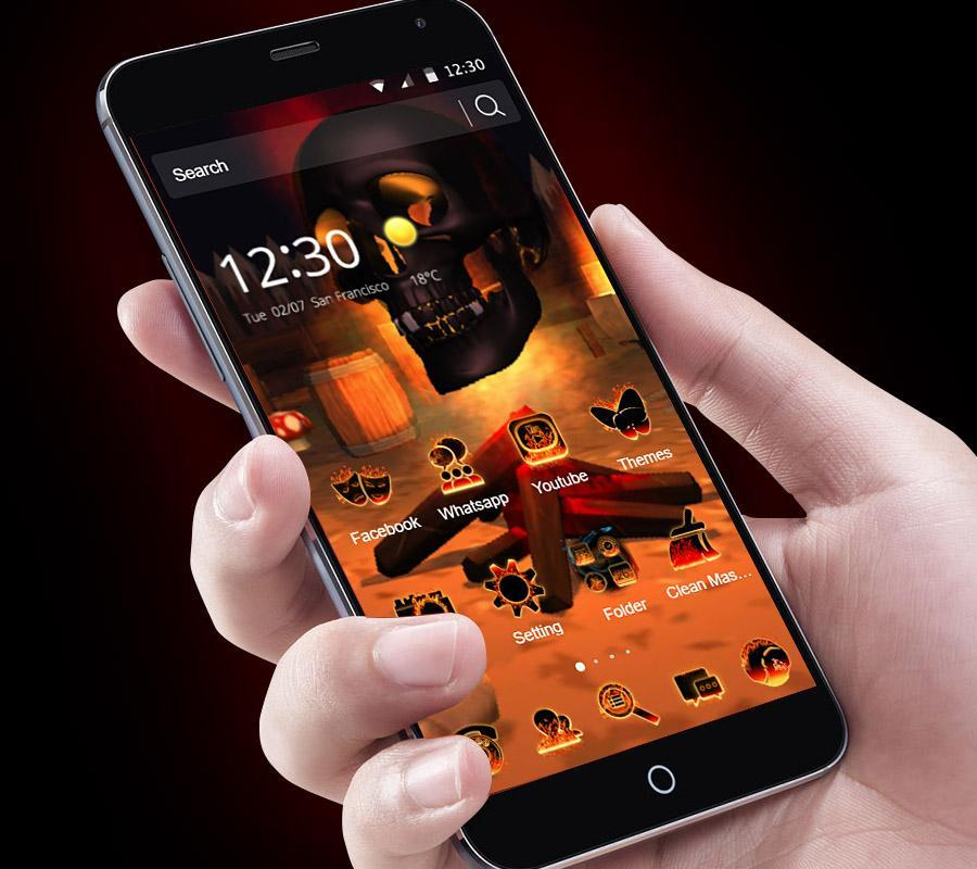 3D Cool Skull Theme With Flaming Wallpaper For Android
