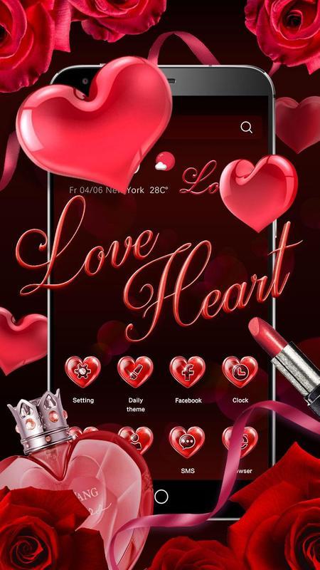 3D Red Love Heart Theme para Android - APK Baixar