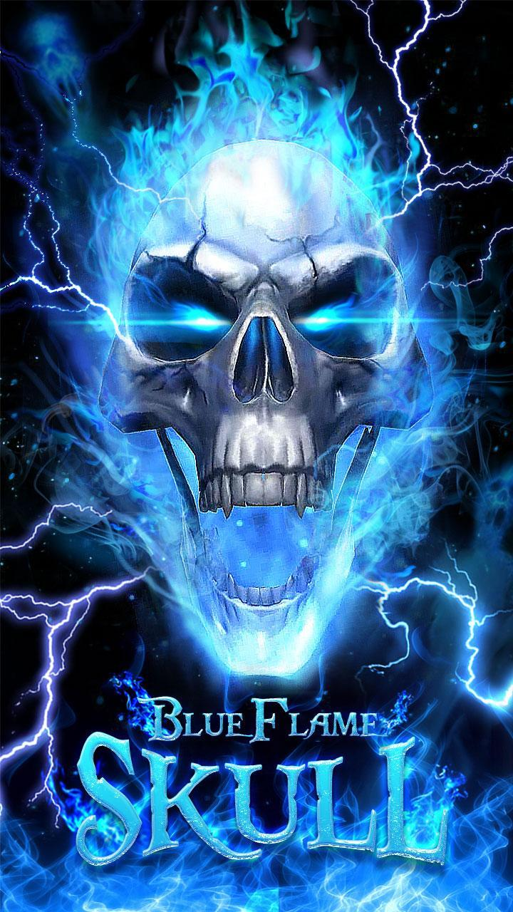 3D Blue Fire Skull Theme Launcher for Android - APK Download