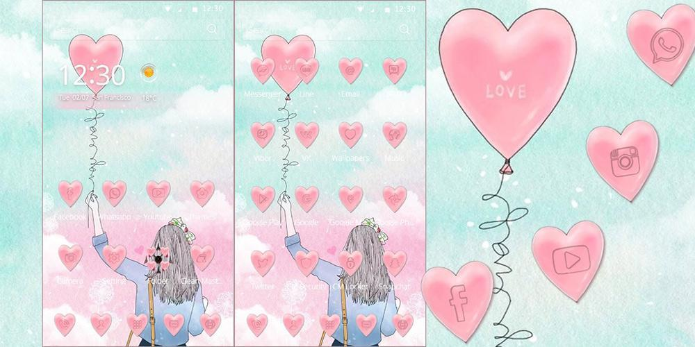 Sketch Balloon Girl Theme For Android Apk Download