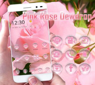 Pink Rose dewdrop theme poster