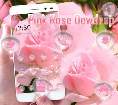 Pink Rose dewdrop theme apk screenshot