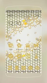 Golden White Flower poster