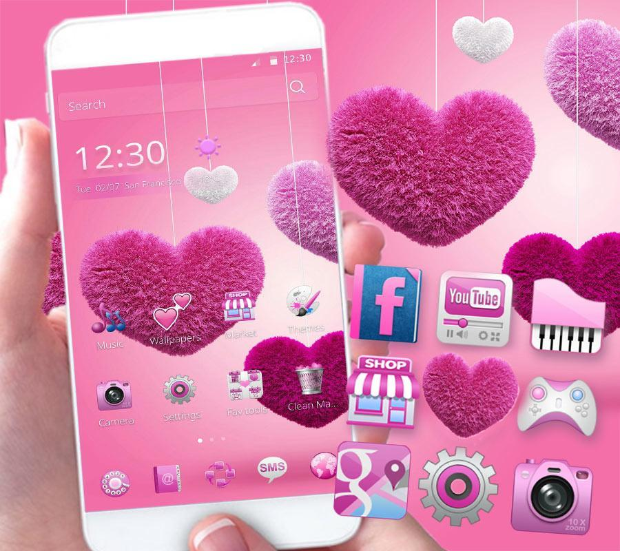 Fluffy love Theme Pink heart for Android - APK Download