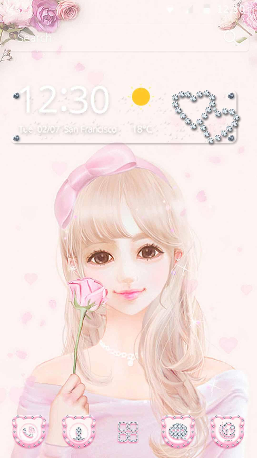 Cute Pink Girl Theme Rose Gold For Android Apk Download