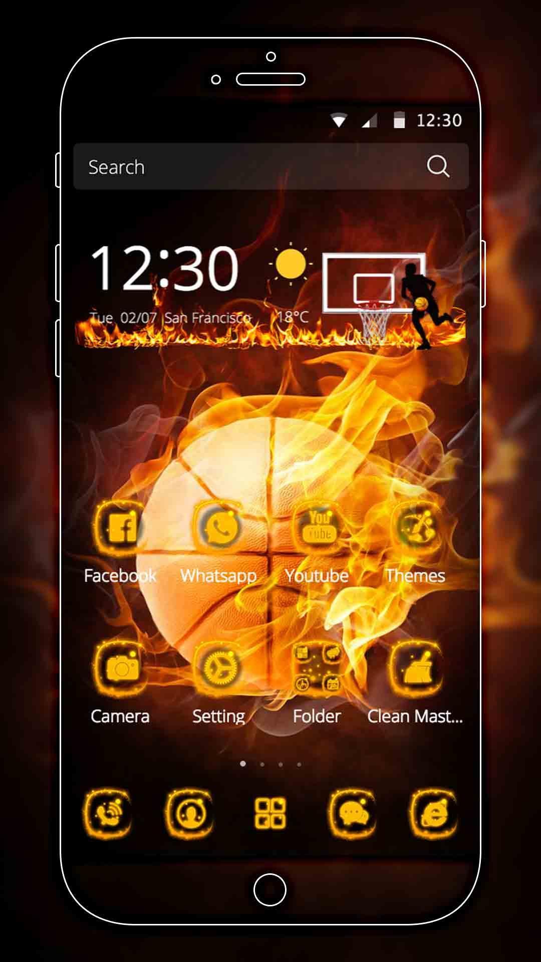 Android 用の クールバスケットボールファイヤーボールのテーマダーク