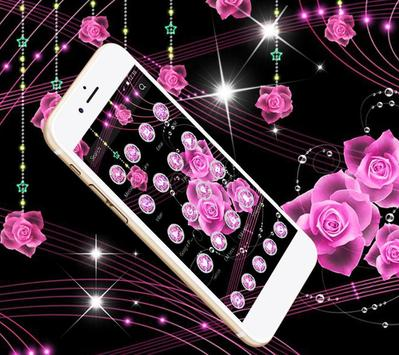 Theme Pink Rose Black Flowers Pendants poster