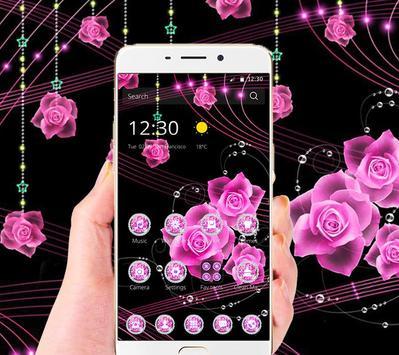Theme Pink Rose Black Flowers Pendants screenshot 1
