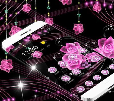 Theme Pink Rose Black Flowers Pendants screenshot 2