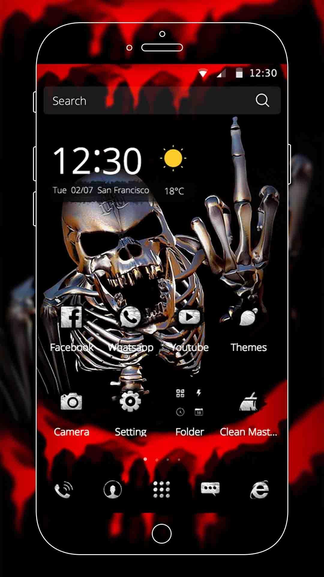 Android 用の スケルトンキングのホラー血血まみれのクールな黒テーマ