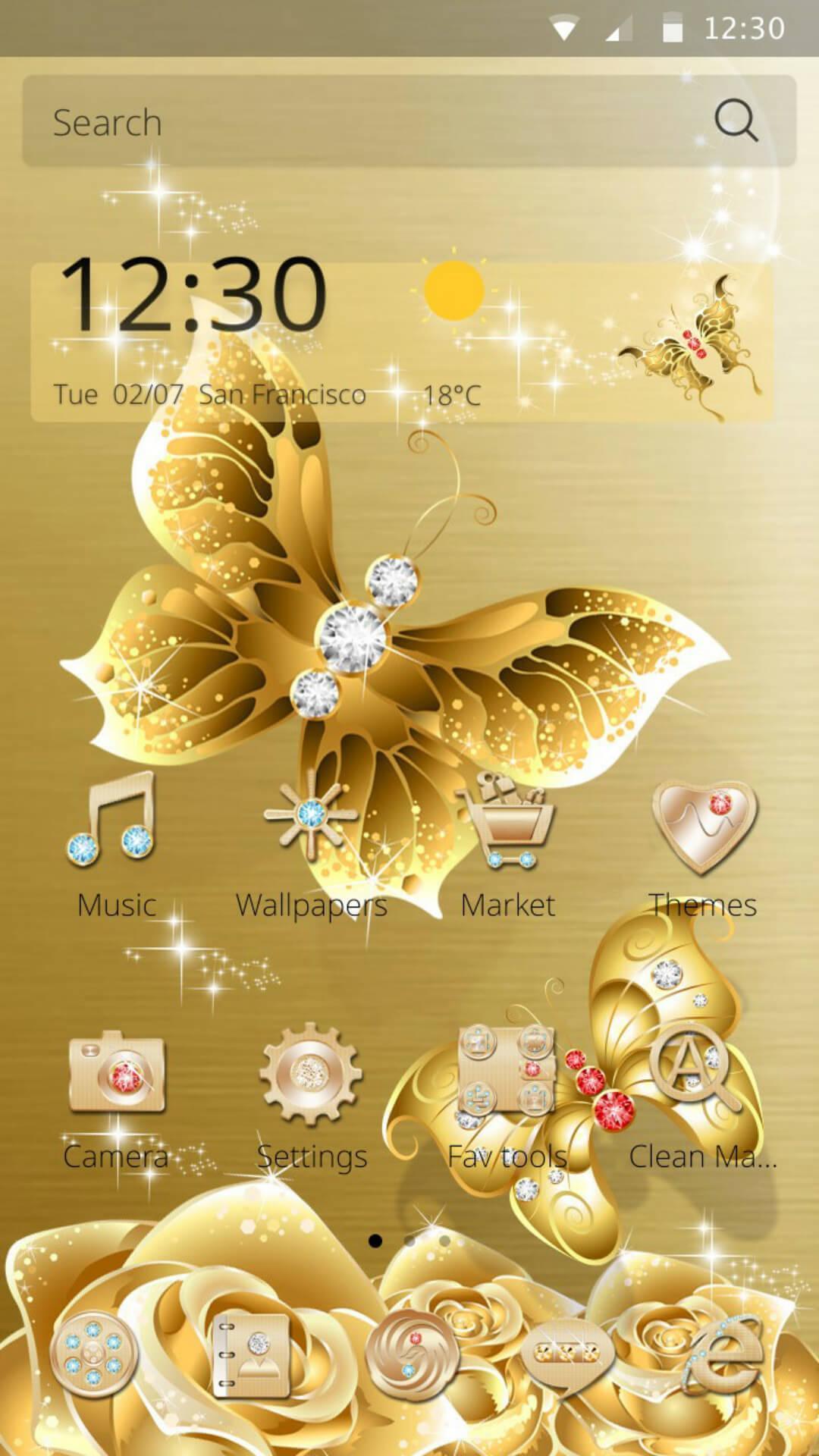 Android 用の Hdゴールドバタフライゴールデンローズ 壁紙のテーマ Apk