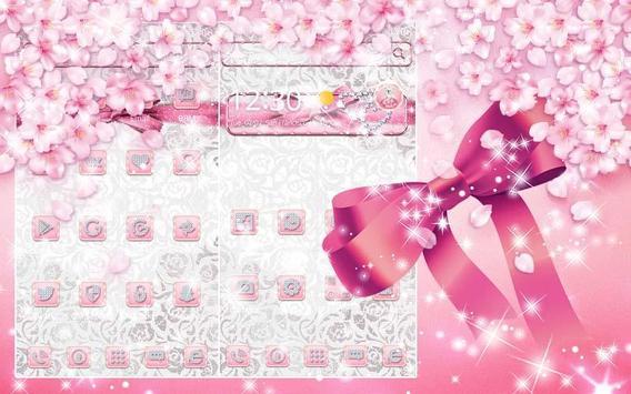 Silver Pink Bow-knot Theme apk screenshot