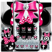 Cute minny pink Bow Silver Diamond Theme icon
