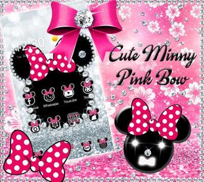 Cute minny pink Bow Silver Diamond Theme poster