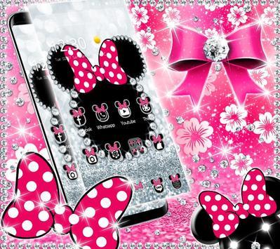 Cute minny pink Bow Silver Diamond Theme screenshot 2