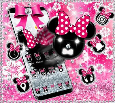 Cute minny pink Bow Silver Diamond Theme screenshot 3