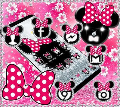 Cute minny pink Bow Silver Diamond Theme screenshot 4