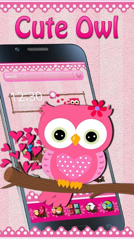 Pink Owl Bow Live wallpaper poster Pink Owl Bow Live wallpaper screenshot 1 ...
