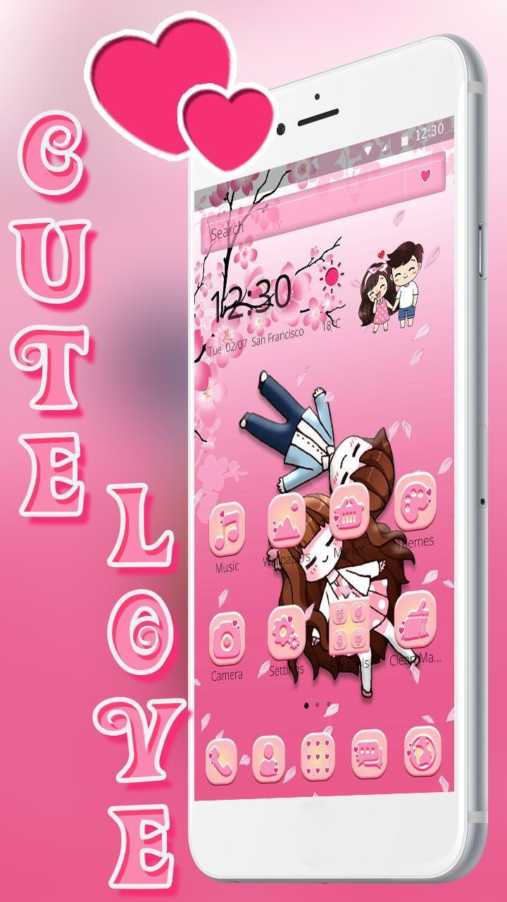Cute Love 2D Theme cho Android - Tải về APK
