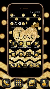 Gold Glitter Love 2D theme cho Android - Tải về APK