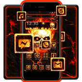 Flaming Fire Skull Theme icon