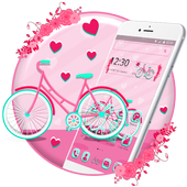 Cute Pink Bicycle Theme & Live Wallpaper icon