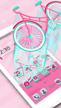 Cute Pink Bicycle Theme & Live Wallpaper screenshot 2