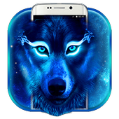 Neon Blue Wolf Launcher Theme icon