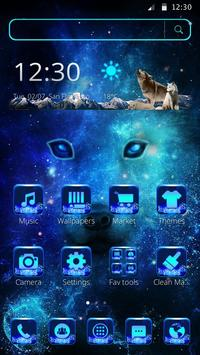 Neon Blue Wolf Launcher Theme screenshot 3