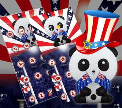 American Flag Cute Panda Theme poster