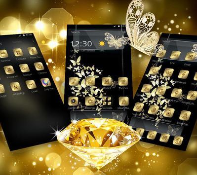Golden Butterfly Glitter Luxury Theme apk screenshot