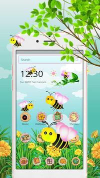 Cute Yellow Honeybee 2d theme (free) poster